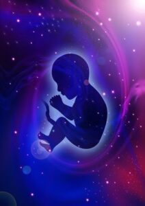Baby Floating in Universe